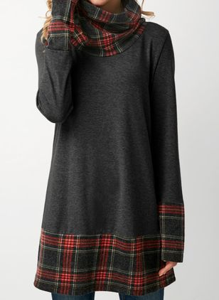 Casual Color Block Tunic High Neckline Shift Dress (1430832)