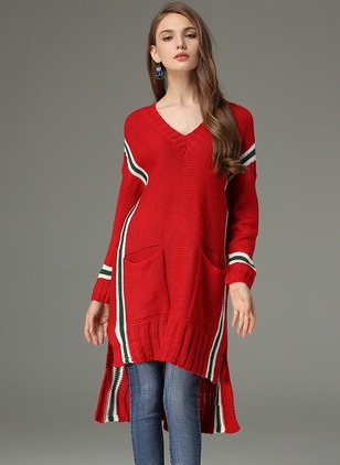Cotton V-Neckline Color Block Casual Long Sweaters