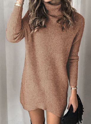 High Neckline Solid Casual Loose Regular Shift Sweaters (101987109)