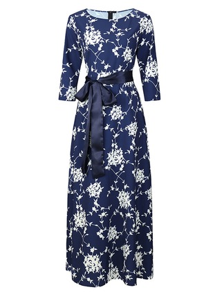 Polyester Floral 3/4 Sleeves Maxi Dresses
