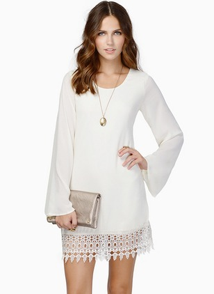 Chiffon Solid Lace Long Sleeve Shift Dress