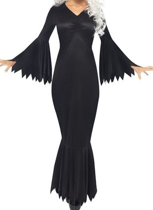 Halloween Solid Pencil V-Neckline Sheath Dress (108860050)