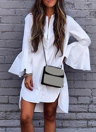 Cotton Solid Shirt Collar Long Sleeve Dress