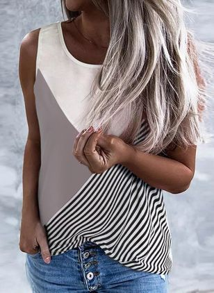 Stripe Round Neck Sleeveless Casual T-shirts (147203075)