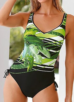 Polyester Color Block One-piece Swimwear (147151341)