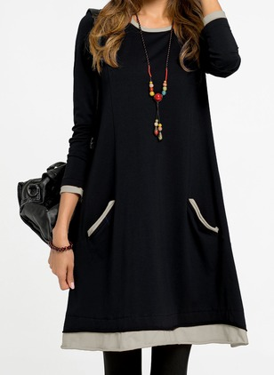 Solid Pockets Skater Long Sleeve Shift Dress