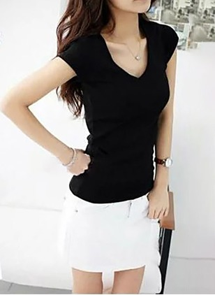 Cotton Solid V-Neckline Cap Sleeve Casual T-shirts