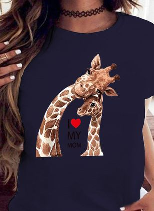 Animal Round Neck Short Sleeve Casual T-shirts (4662224)