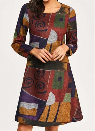 Casual Color Block Round Neckline Long Sleeve Knee-Length Dress (112602054)
