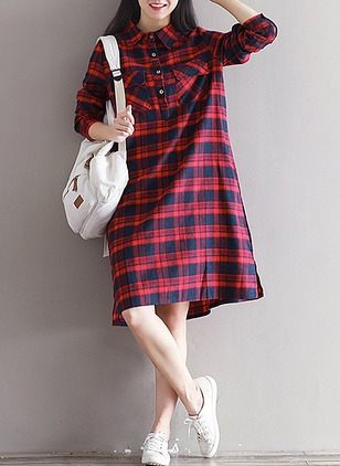 Polyester Plaid Long Sleeve Knee-Length Dresses