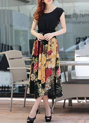 Floral Embroidery Wrap Cap Sleeve A-line Dress