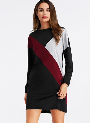Cotton Color Block Long Sleeve Shift Dress