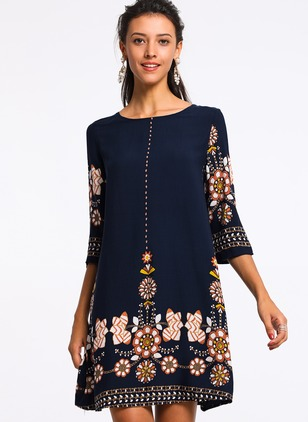 Floral Half Sleeve Above Knee A-line Dress