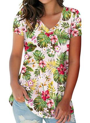 Floral V-Neckline Short Sleeve Casual T-shirts (147192157)