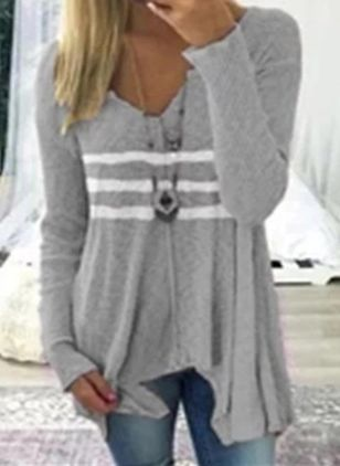 V-Neckline Color Block Casual Loose Regular Shift Sweaters (4864498)