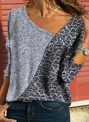 Leopard V-Neckline Long Sleeve Casual T-shirts (146964366)
