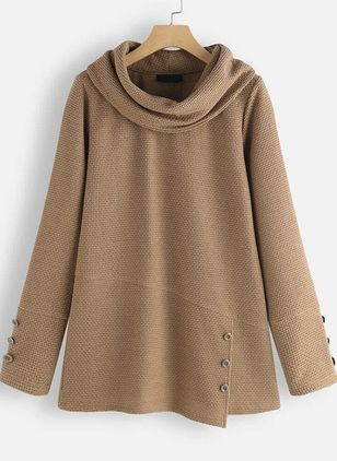 Long Sleeve High Neckline Buttons Coats (106821753)