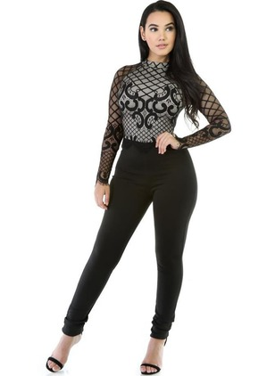 Polyester Geometric Long Sleeve Lace Jumpsuits & Rompers