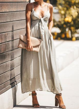 Solid Pockets Slip Camisole Neckline X-line Dress