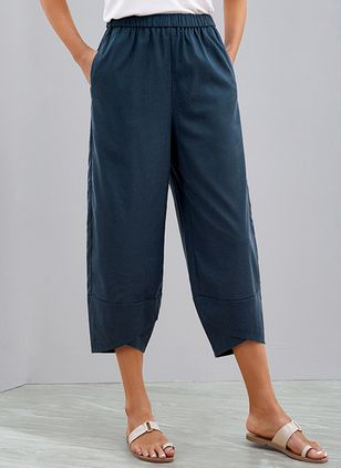 Casual Loose Pockets Mid Waist Cotton Blends Pants (120649078)