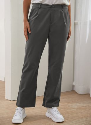 Casual Loose Buttons Pockets Mid Waist Polyester Pants (146650477)