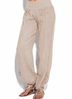 Casual Loose Buttons Mid Waist Cotton Blends Pants (1526092)
