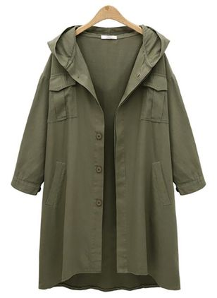 Long Sleeve Hooded Buttons Pockets Trench Coats (107561947)