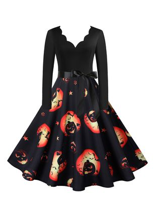 Halloween Color Block V-Neckline Midi X-line Dress (109973486)