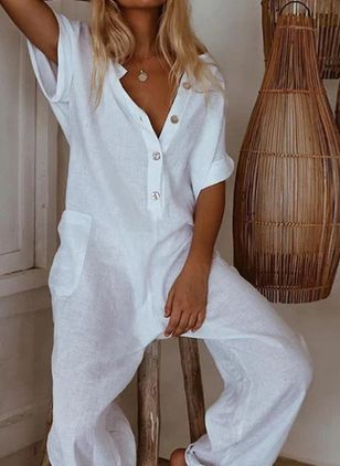Plain Halve mouw Jumpsuits&Rompers
