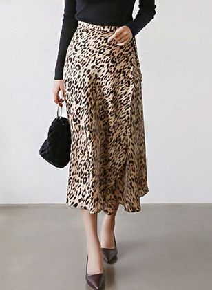 Leopard Mid-Calf Casual Sashes Skirts (4045711)