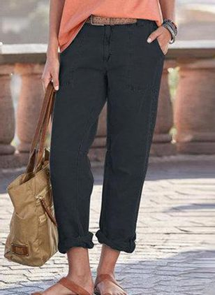Casual Straight Pockets High Waist Polyester Pants (146959928)