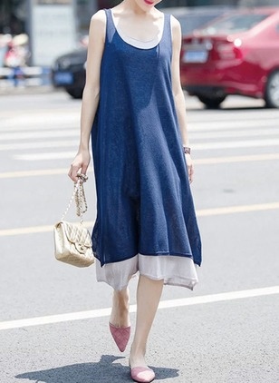Cotton Blends Solid Sleeveless Midi Dresses