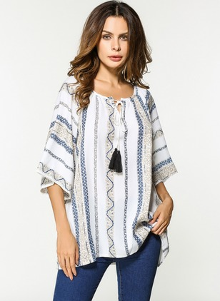 Stripe Casual Cotton Round Neckline Half Sleeve Blouses