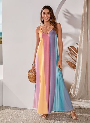 Casual Color Block Slip Camisole Neckline Shift Dress (4864767)