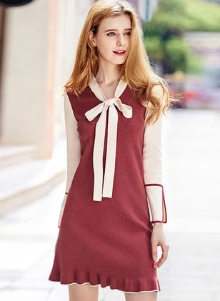 Solid Bow Long Sleeve Above Knee Shift Dress