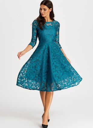 Elegant Solid Peasant Round Neckline A-line Dress (1398802)