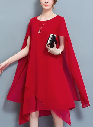 Chiffon Solid Short Sleeve High Low Shift Dress