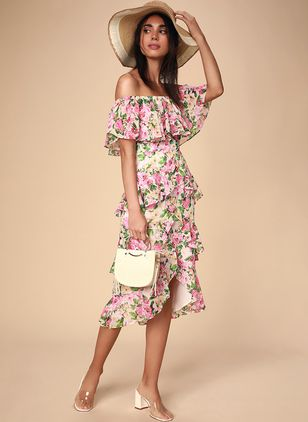 Floral Ruffles Off the Shoulder Midi X-line Dress