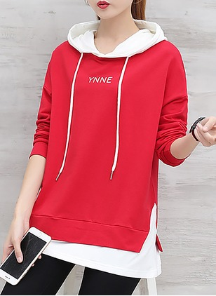 Color Block Casual Cotton Hooded Others Sweatshirts