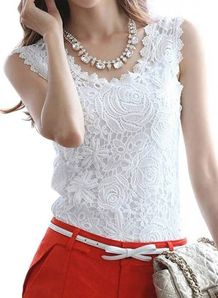 Solid Casual Lace Round Neckline Sleeveless Blouses