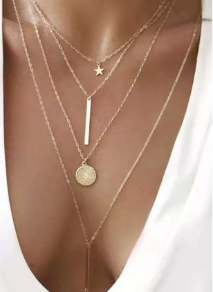 Casual Geometric Star Round No Stone Pendant Necklaces (4048200)