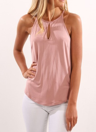 Cotton Solid Camisole Neckline Sleeveless Casual T-shirts & Vests