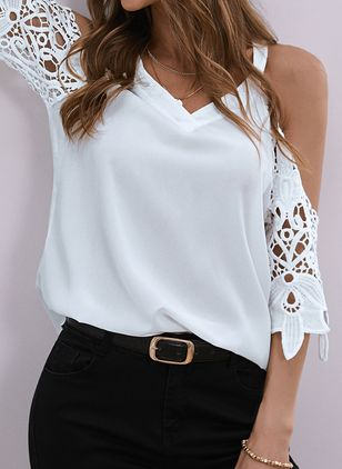 Solid Summer V-Neckline 3/4 Sleeves Blouses (146943424)