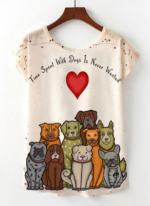 Animal Round Neck Short Sleeve Casual T-shirts (4864531)