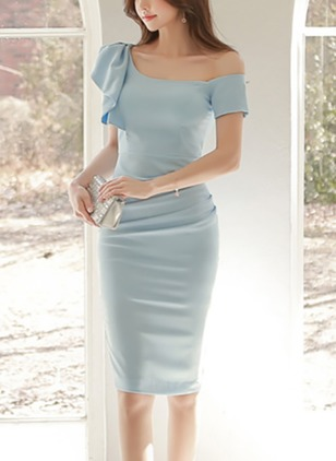 Solid Ruffles Pencil Knee-Length Sheath Dress