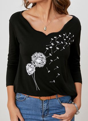 Floral V-Neckline Long Sleeve Casual T-shirts (146643207)