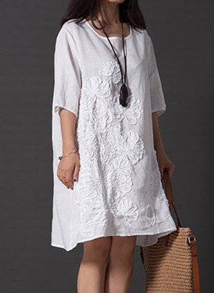 Cotton Floral Half Sleeve Knee-Length Shift Dress