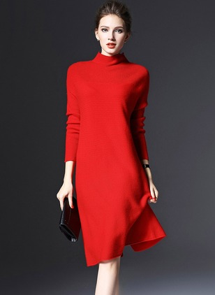 Solid Sweater High Neckline Knee-Length Shift Dress