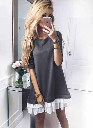 Solid Round Neck 3/4 Sleeves Casual T-shirts