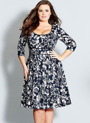 Polyester Floral 3/4 Sleeves Knee-Length Dresses